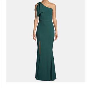 Betsy & Adam hunter green gown dress